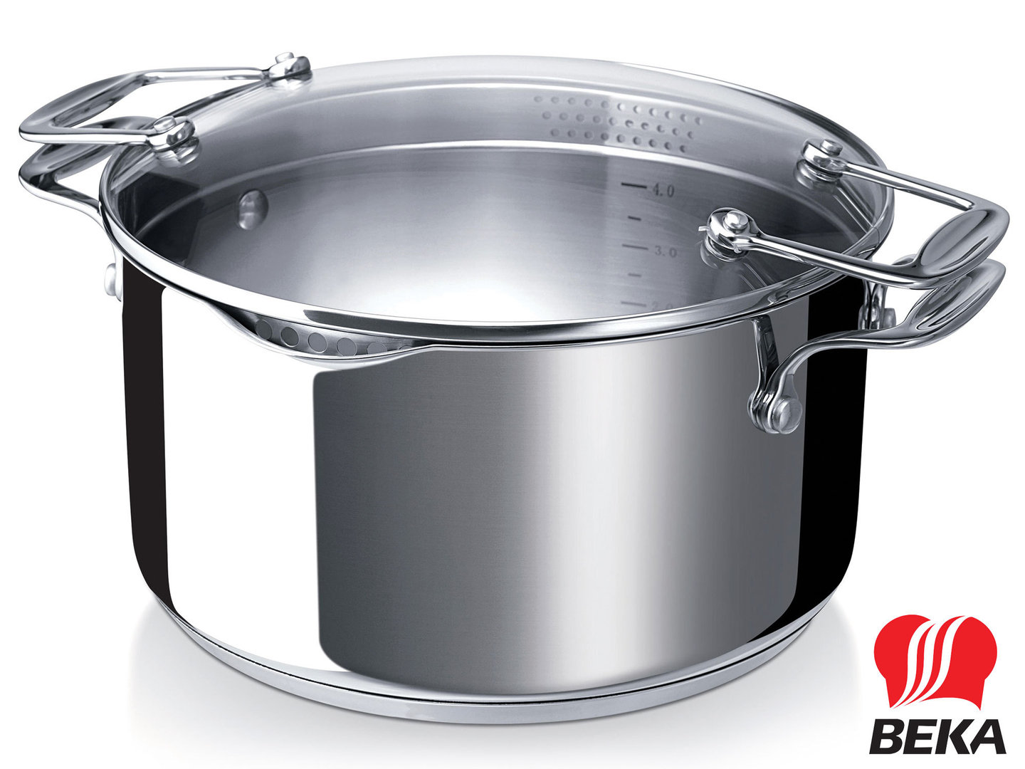 BEKA easy straining casserole CHEF PRATIQUE 24 cm stainless steel induction
