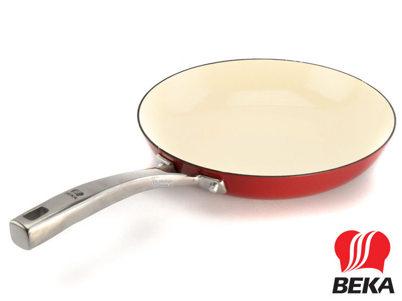 BEKA cast iron frypan AROME 24 cm enameled red cream