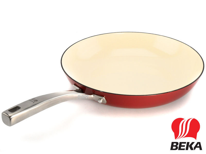 BEKA cast iron frypan AROME 28 cm enameled red cream