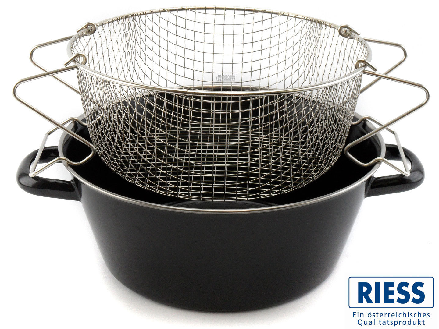 RIESS chip pan enameled steel 24 cm with basket insert