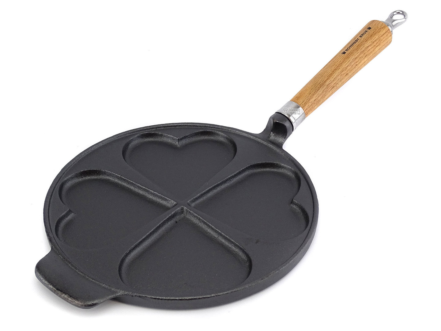 RONNEBY BRUK cast iron HEART-SHAPE pancake pan MAESTRO 24 cm oakwood handle, pre-seasoned
