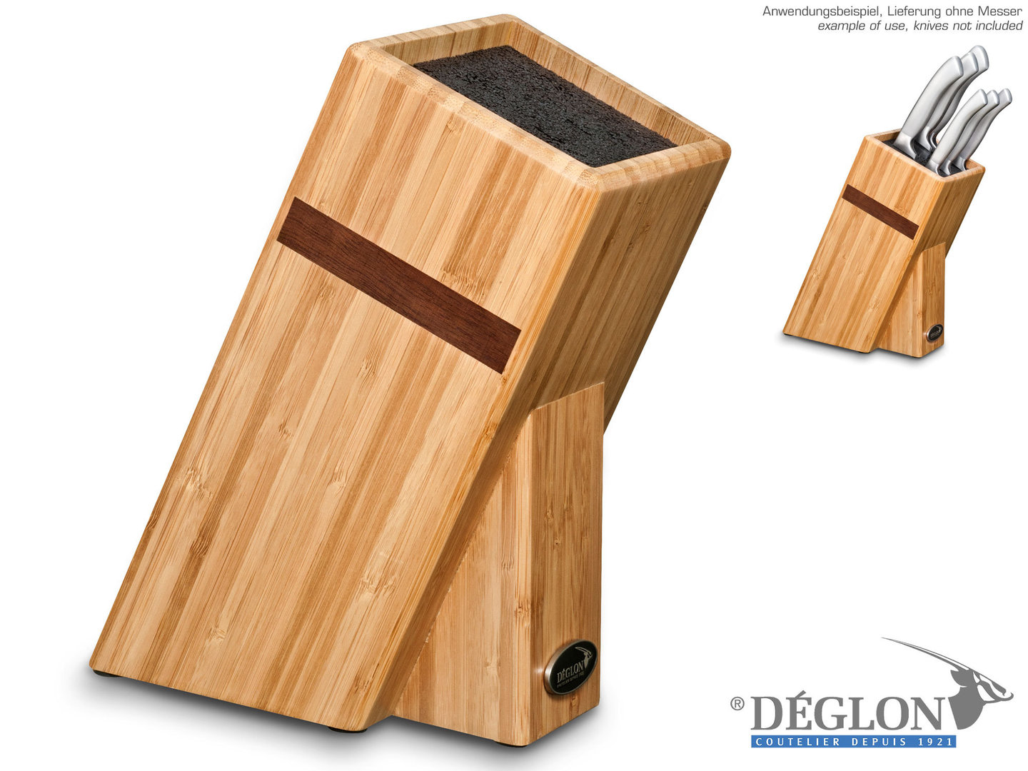 DÉGLON bamboo knife block with brush insert empty
