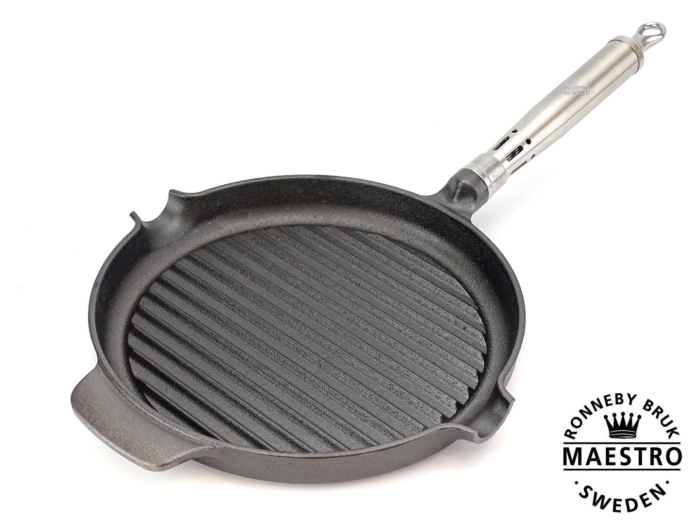 RONNEBY BRUK cast iron grill pan MAESTRO 24 cm stainless steel handle, pre-seasoned