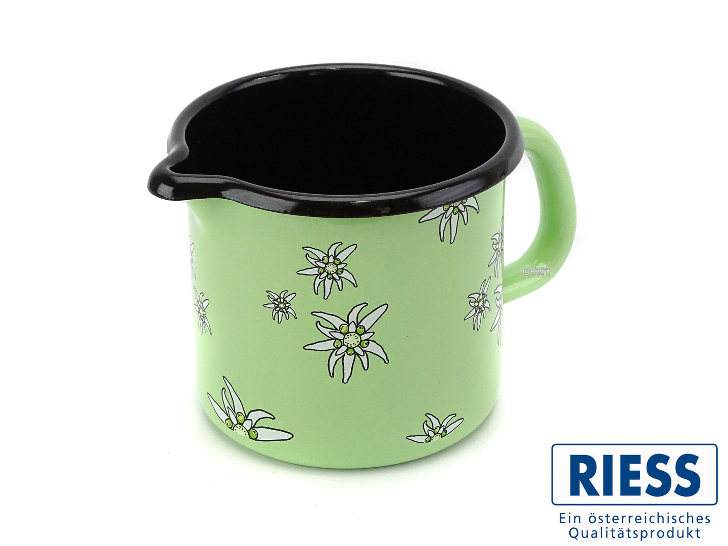 RIESS milk pot enamel edelweiss green 10 cm 0,75 Liter