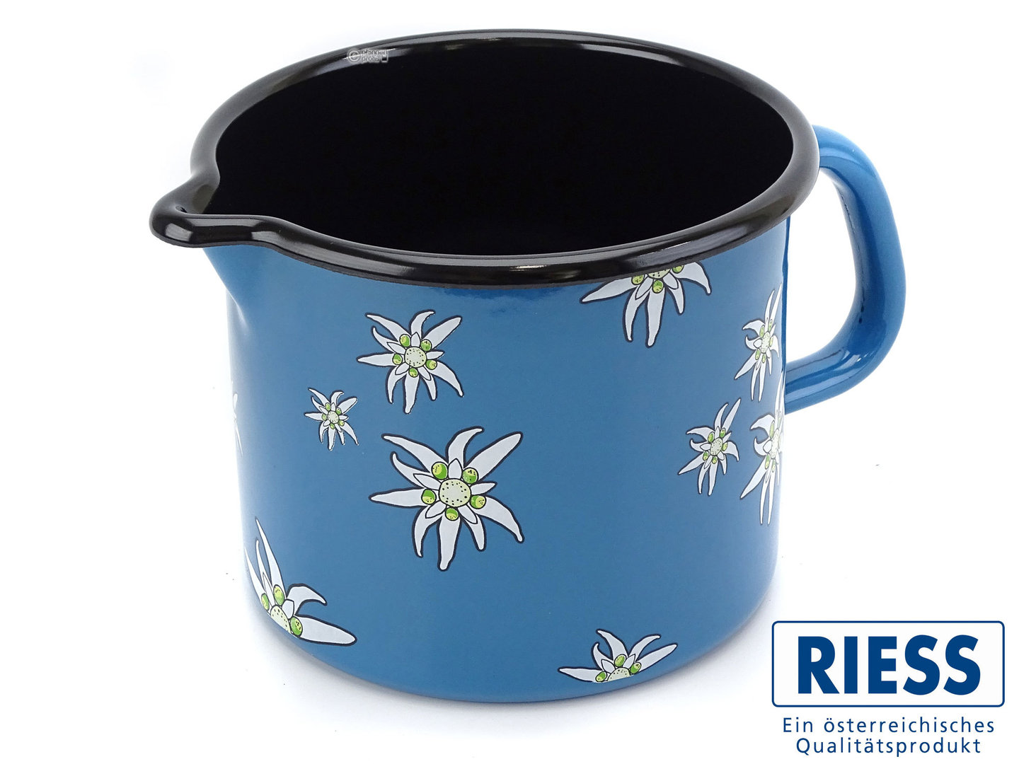 RIESS milk pot enamel edelweiss blue 14 cm 1,7 liter