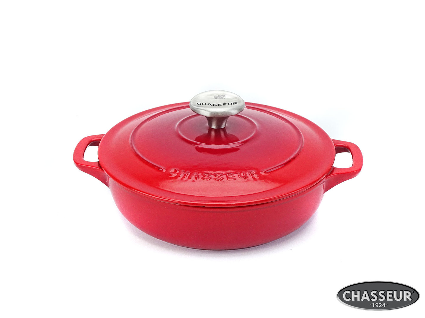 CHASSEUR shallow cast iron casserole 20 cm ruby-red enamel with lid