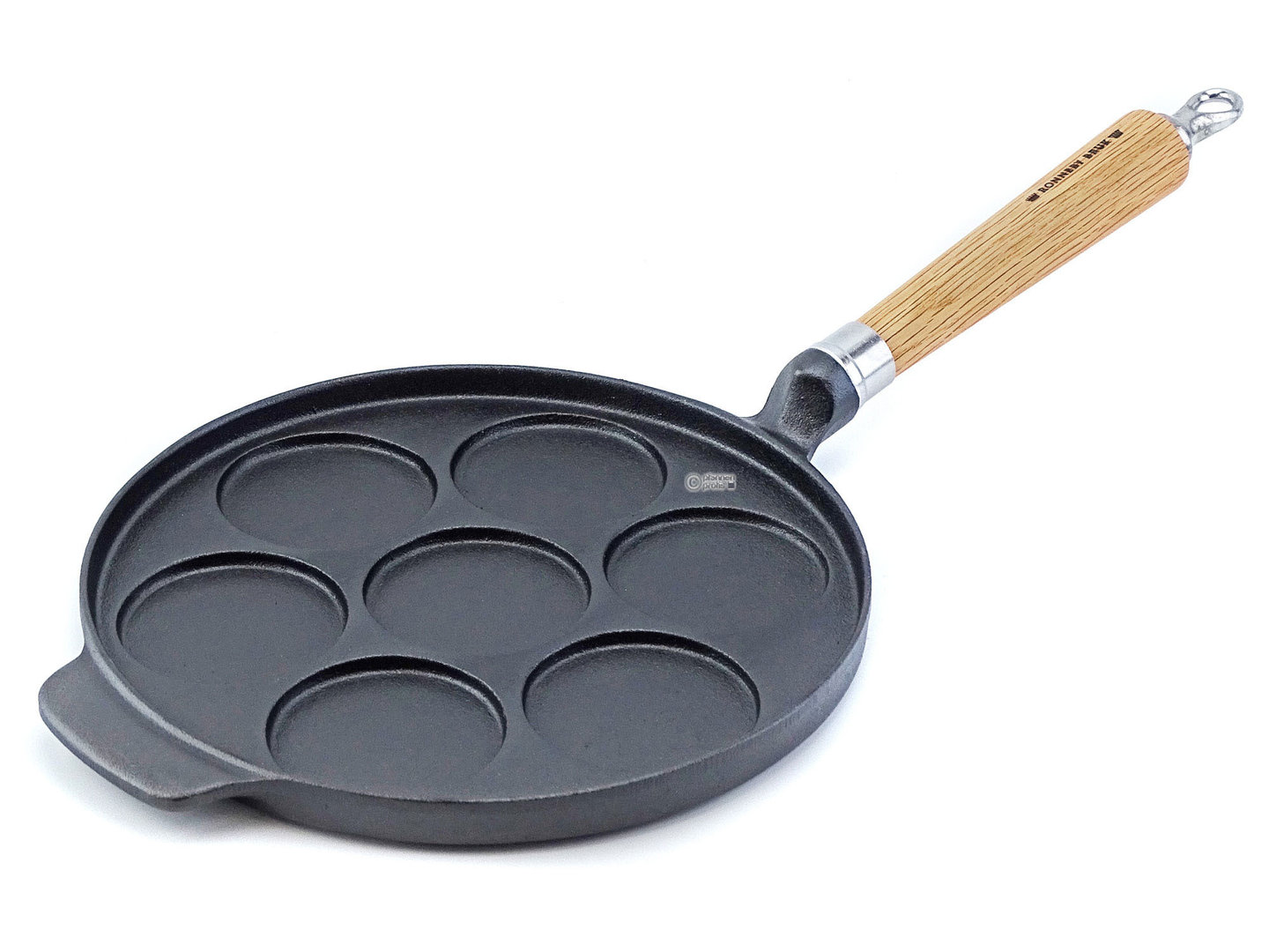 RONNEBY BRUK cast iron mini pancake pan MAESTRO 24 cm with 7 indentations oakwood handle