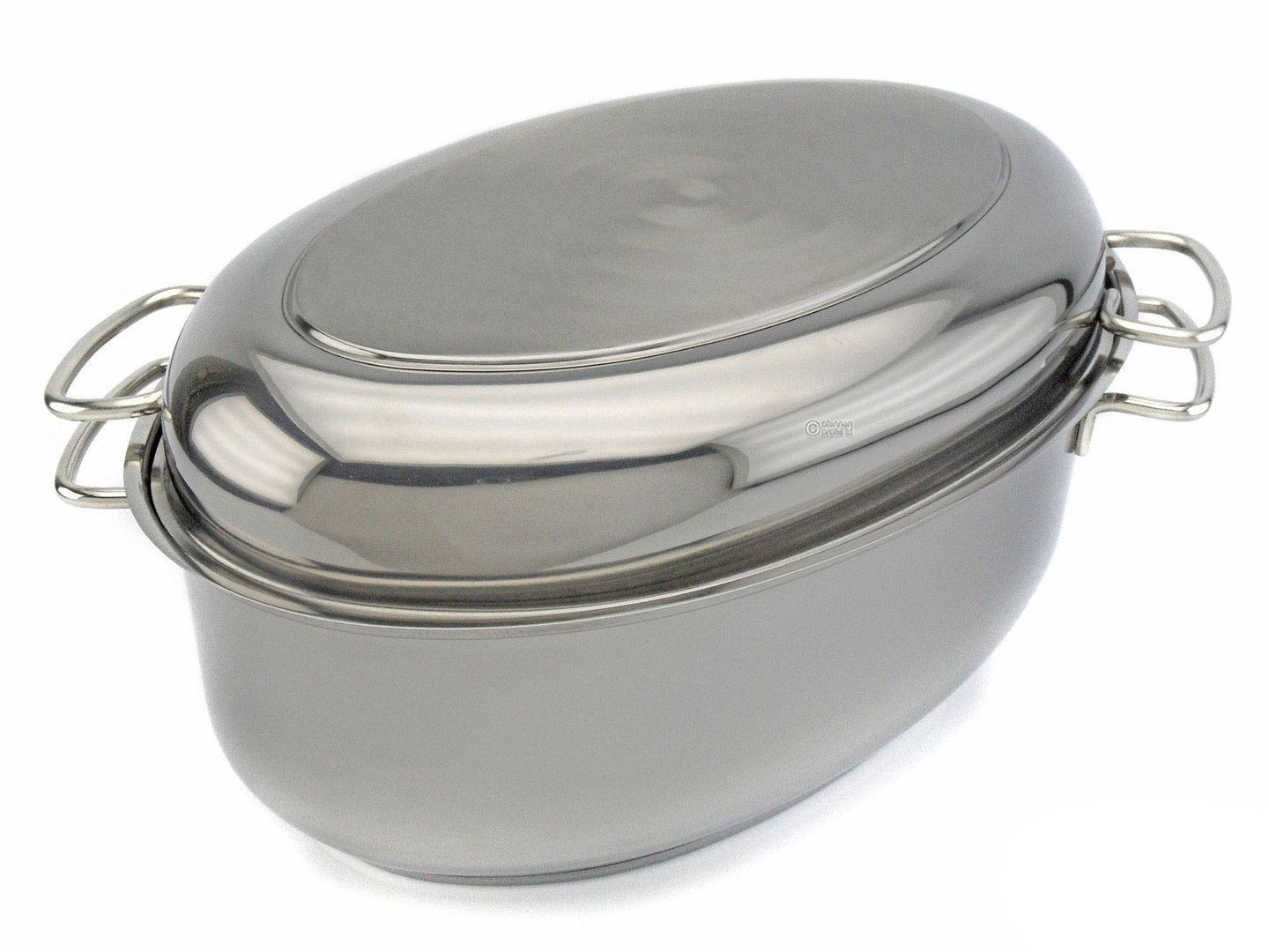 SSW oval roaster 38 cm 9 liter stainless steel with lid induction