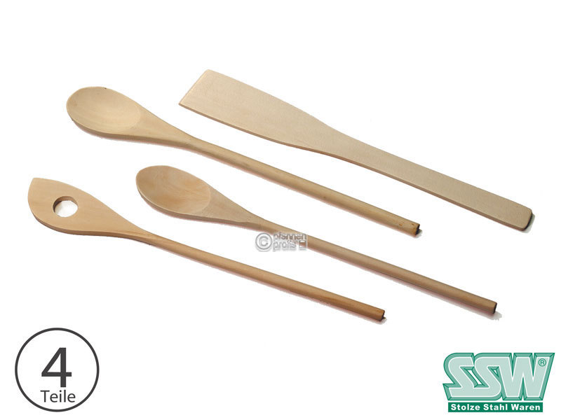 Ssw Wooden Cooking Spoon Set 4 Pcs Spoon Round Pointed Spatula