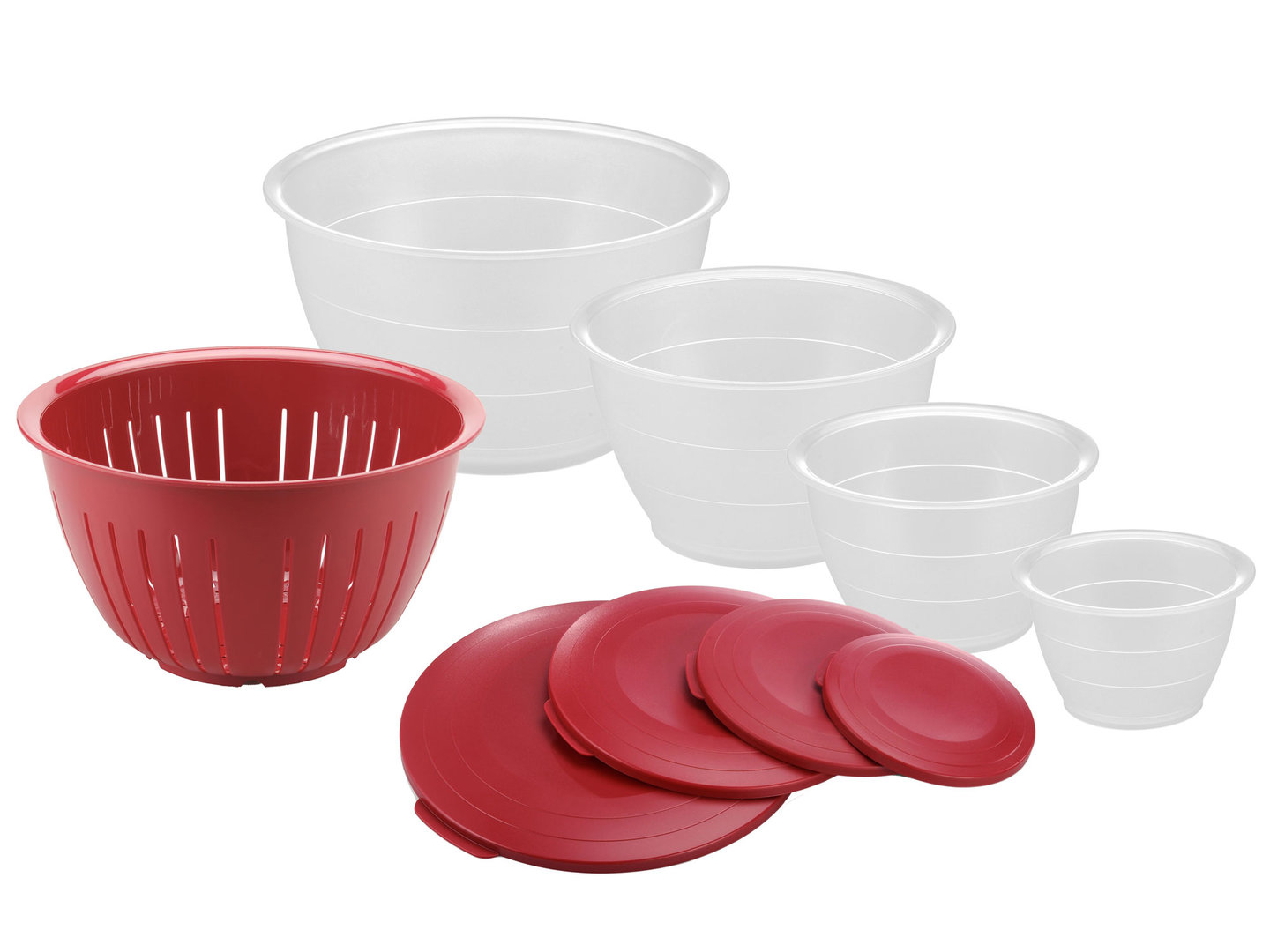 WESTMARK 9 pcs bowl set with colander OLYMPIA red