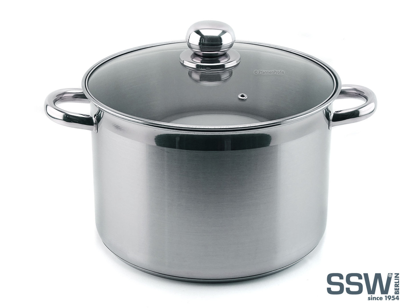 SSW stainless steel stockpot VITALO XXL 10 liters with glass lid 26 cm induction