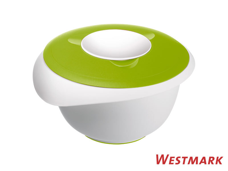 WESTMARK mixing bowl 2,5 L with splatter guard and lid APPLE GREEN