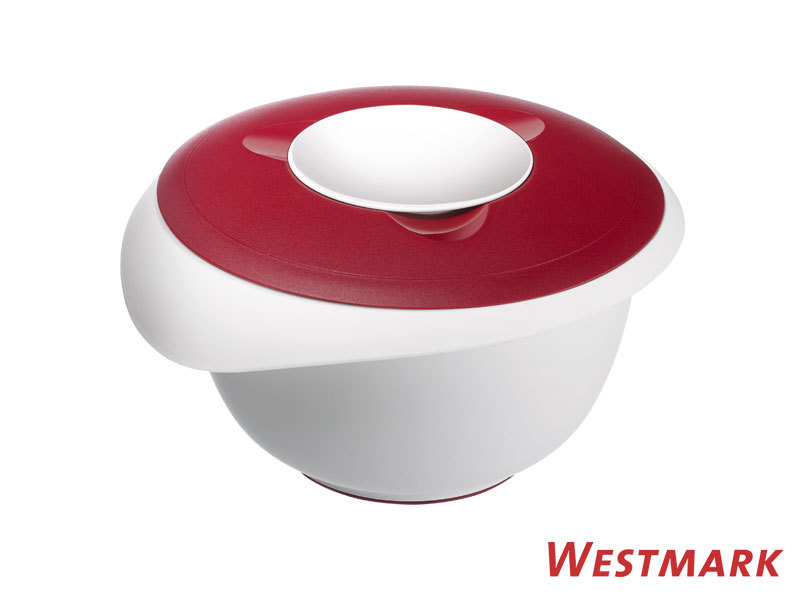 WESTMARK mixing bowl 2,5 L with splatter guard and lid RED