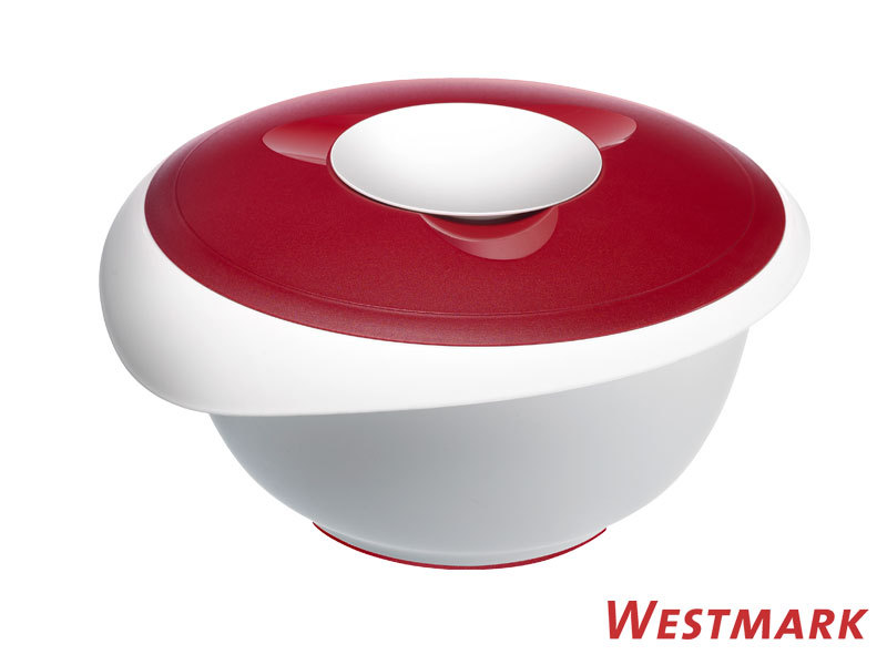 WESTMARK mixing bowl 3,5 L with splatter guard and lid RED