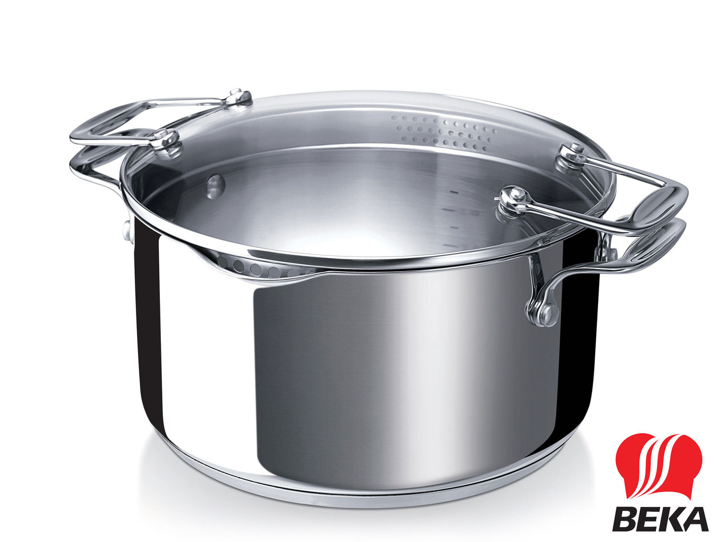 BEKA easy straining casserole CHEF PRATIQUE 20 cm stainless steel induction