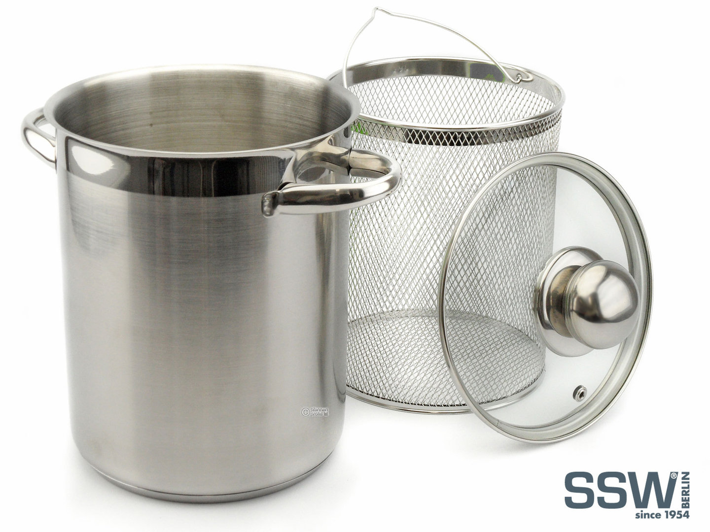 SSW asparagus cooker HIGH POT 16 cm stainless steel with basket and lid