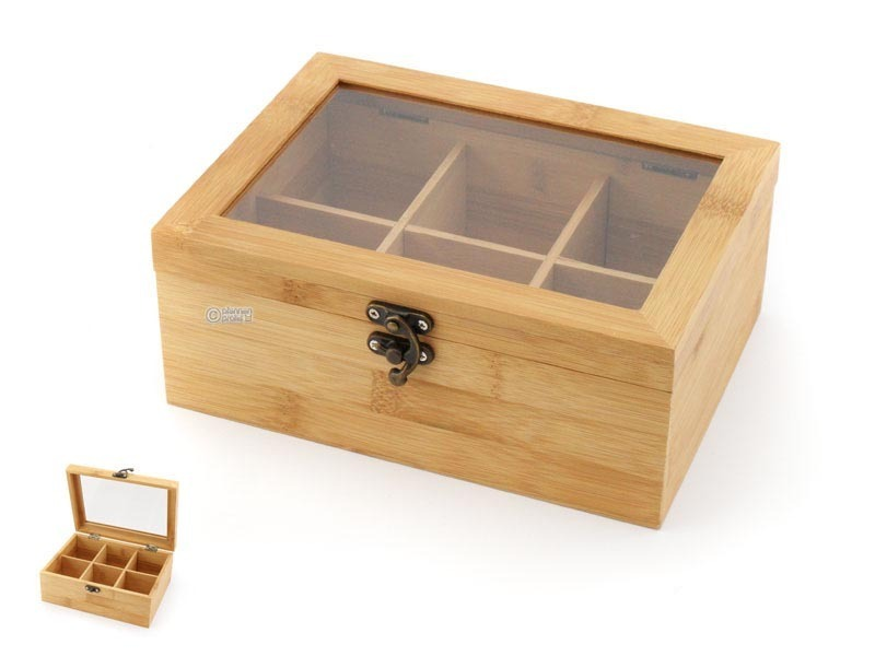 KESPER bamboo tea box with window, 6 compartments