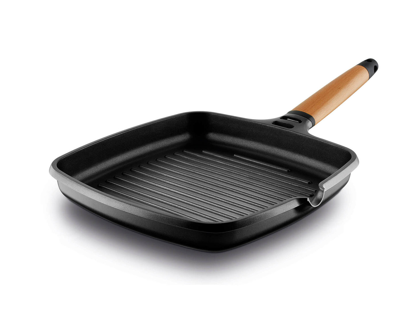 CASTEY mini grill pan cast alu CLASSIC 22 x 22 cm detachable wooden handle induction
