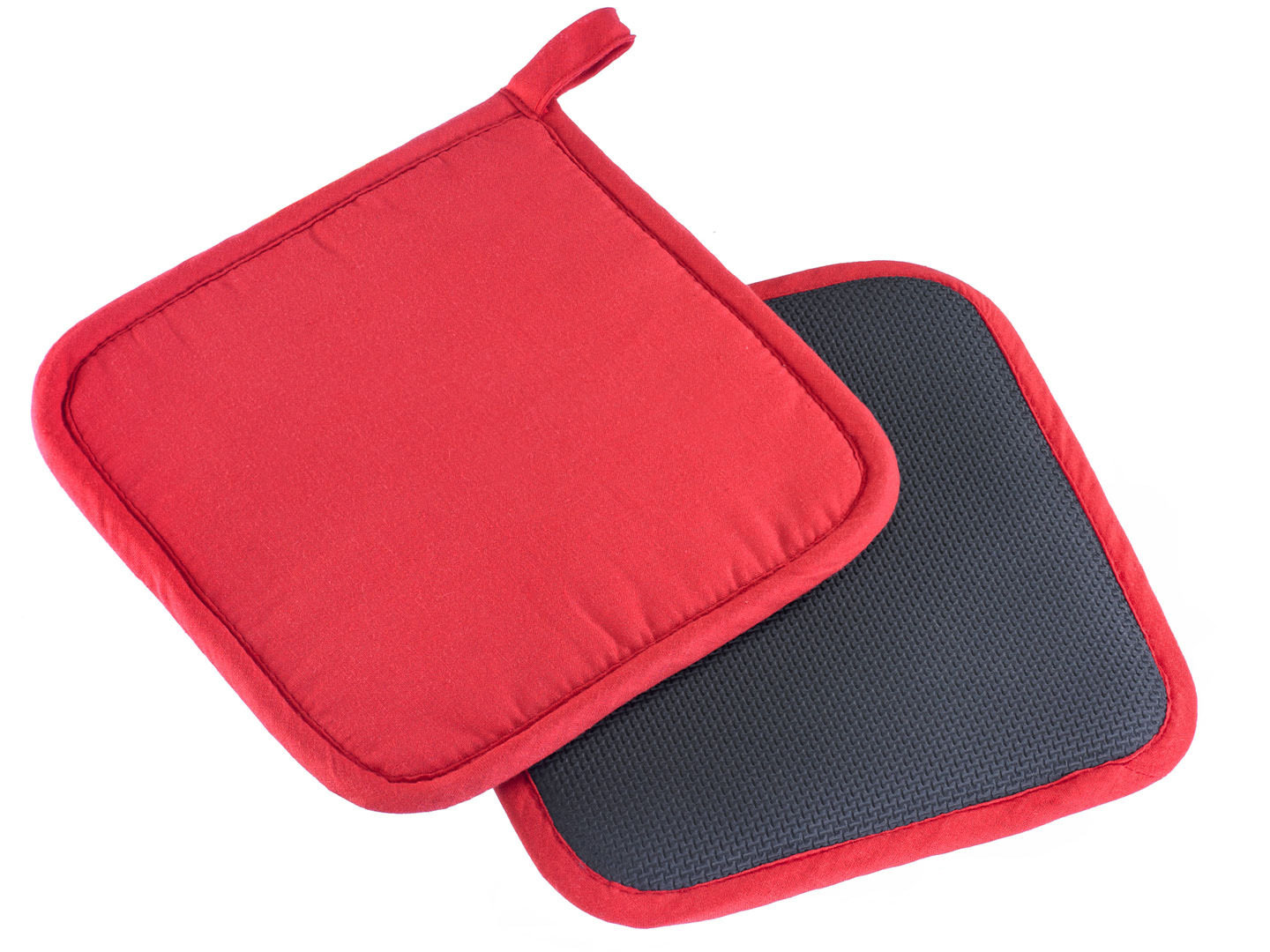 WESTMARK 2 pot holders red-black slip-resistant Neoprene + cotton washable