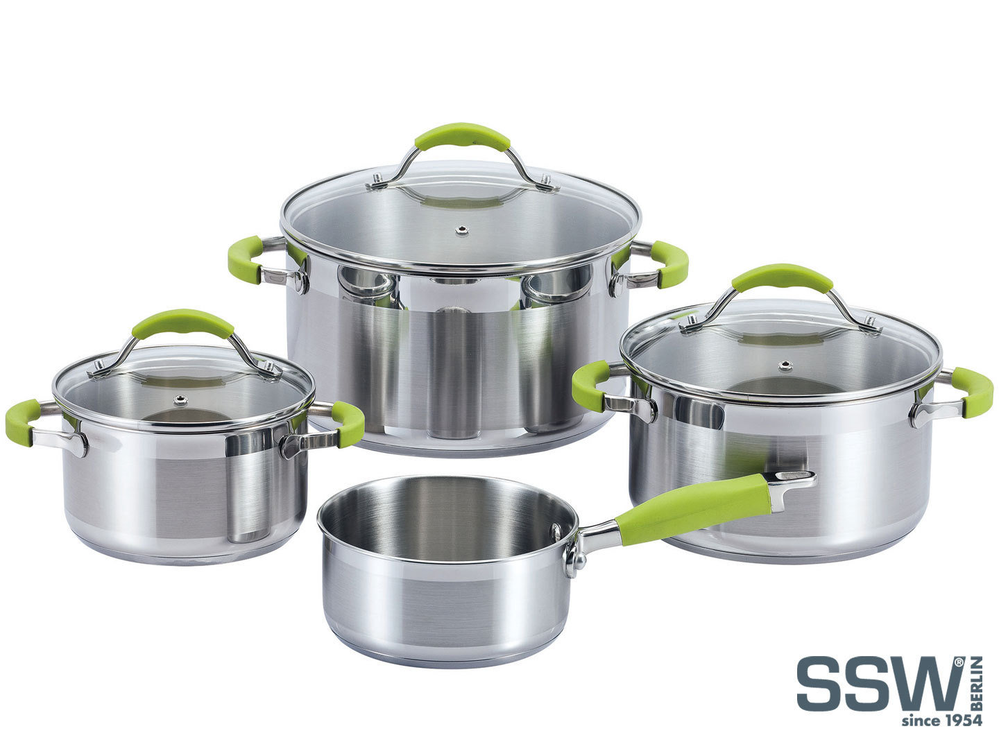 SSW casserole set GREEN APPLE stainless steel with silicone handles