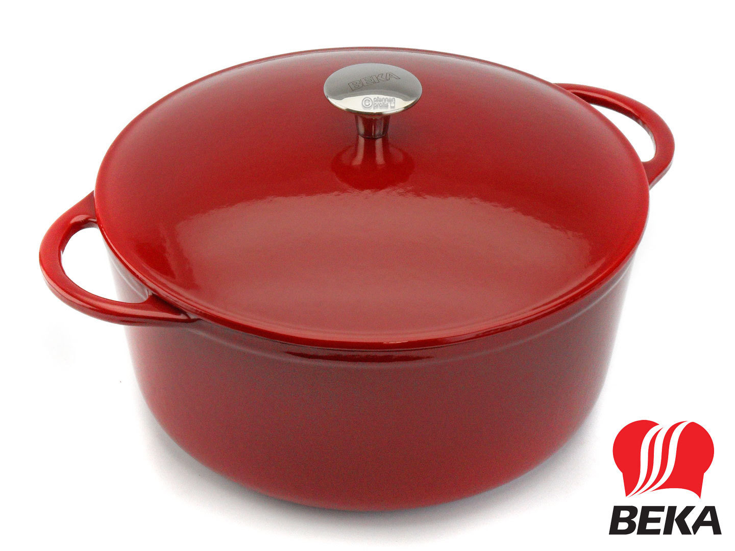 BEKA round cast iron casserole AROME 27 cm with lid enameled red cream