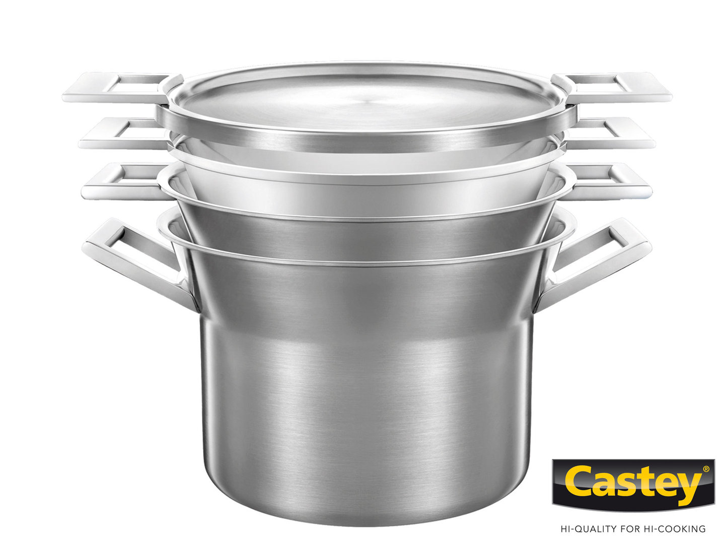 CASTEY 3-ply casserole set 24 cm ARTIC 4 pc with steamer insert nestable
