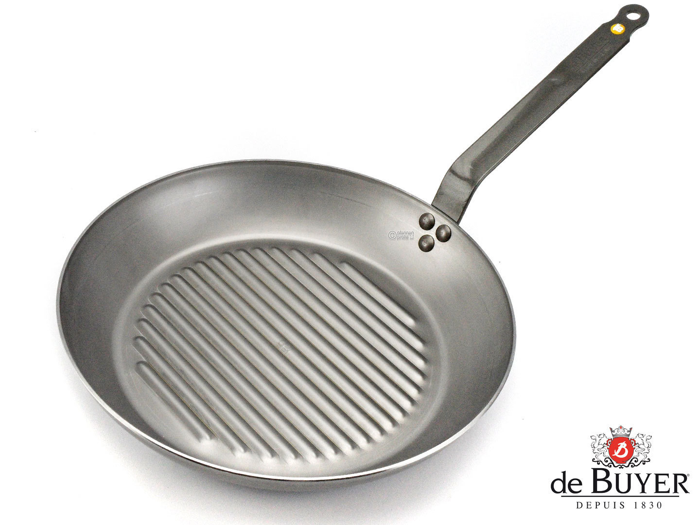 DE BUYER grill pan MINERAL B ELEMENT 32 cm ribbed iron pan