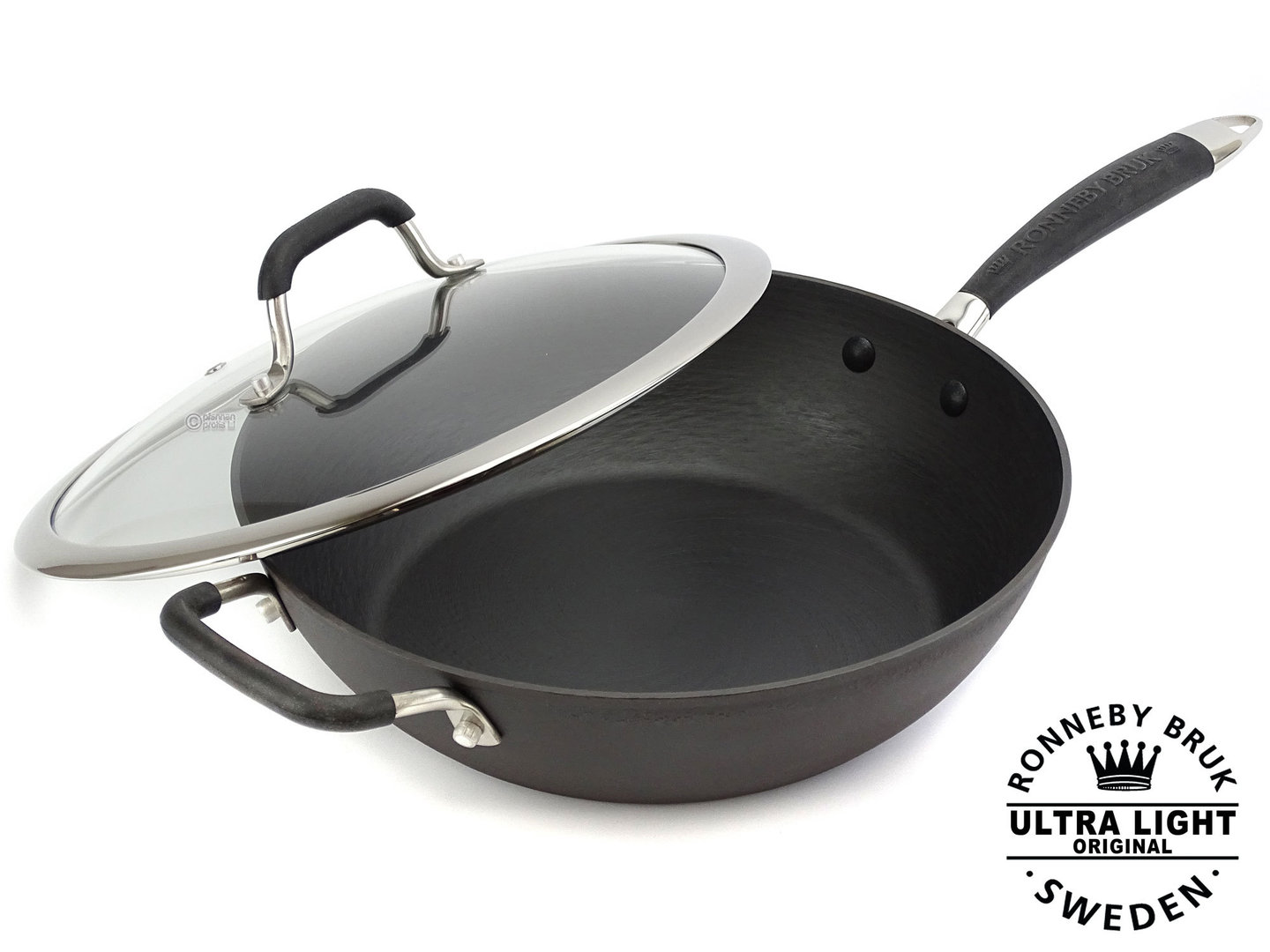 RONNEBY BRUK pre-seasoned deep cast iron frypan ULTRA LIGHT 28 cm with glass lid