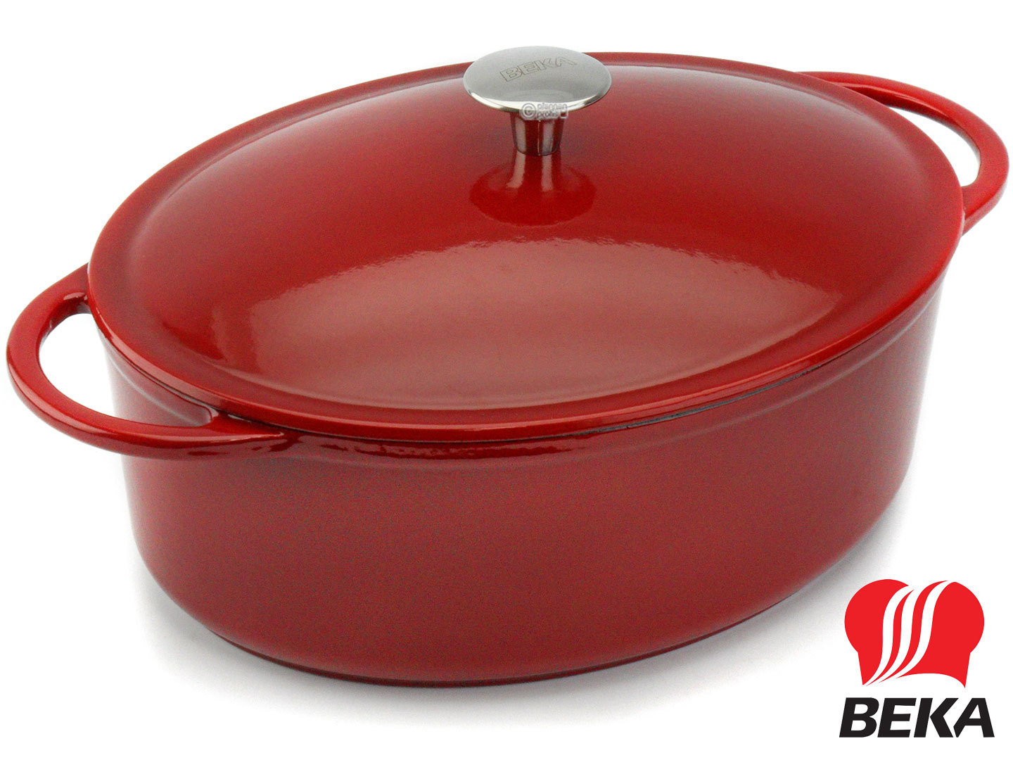 BEKA oval cast iron casserole AROME 34 cm with lid enameled red cream