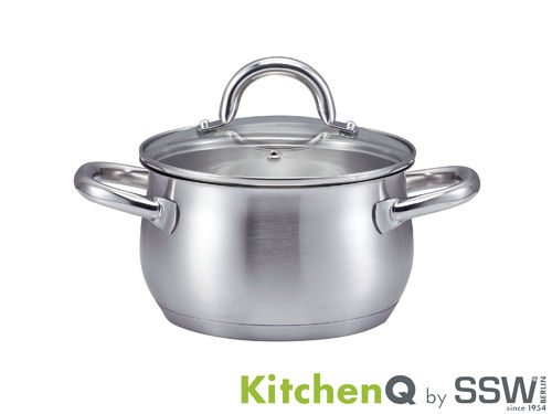 SSW casserole PROFI PLUS 16 cm stainless steel with glass lid induction