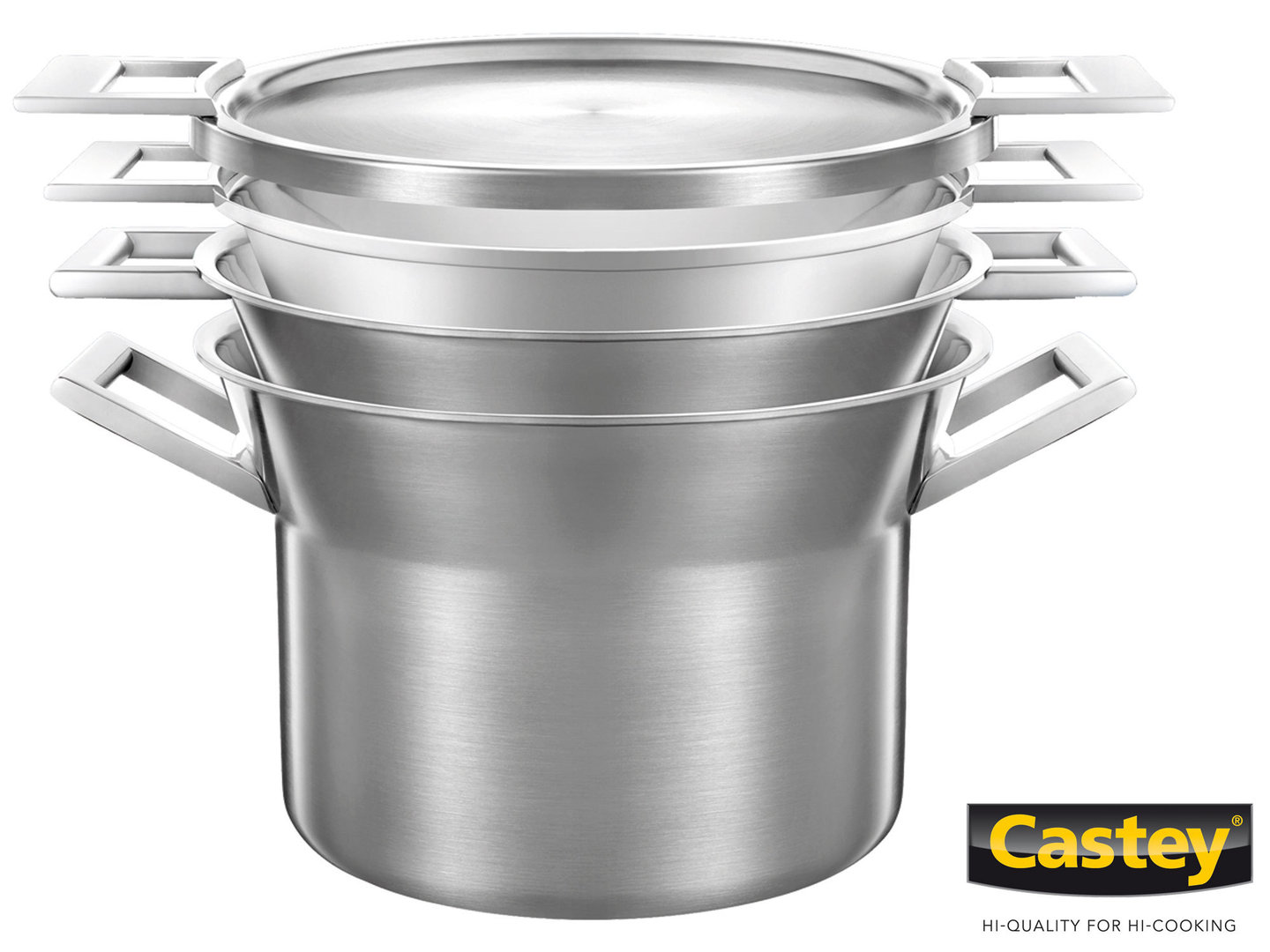 CASTEY 3-ply casserole set 28 cm ARTIC 4 pc with steamer insert nestable
