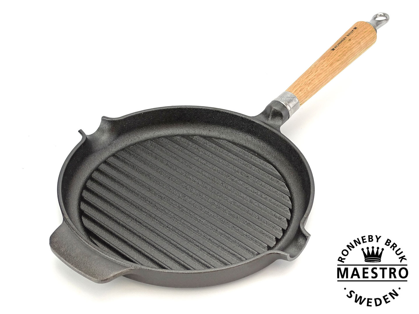 RONNEBY BRUK cast iron grill pan MAESTRO 24 cm oakwood handle, pre-seasoned