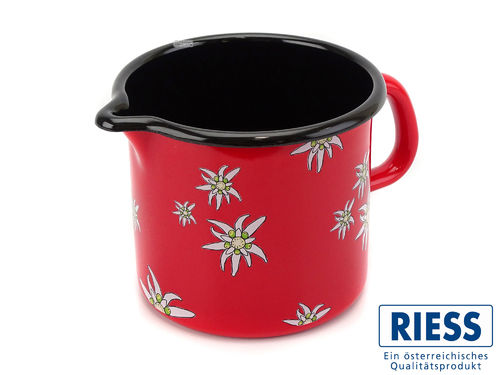 RIESS Milchtopf Emaille Edelweiß rot 12 cm 1 Liter Schnabeltopf