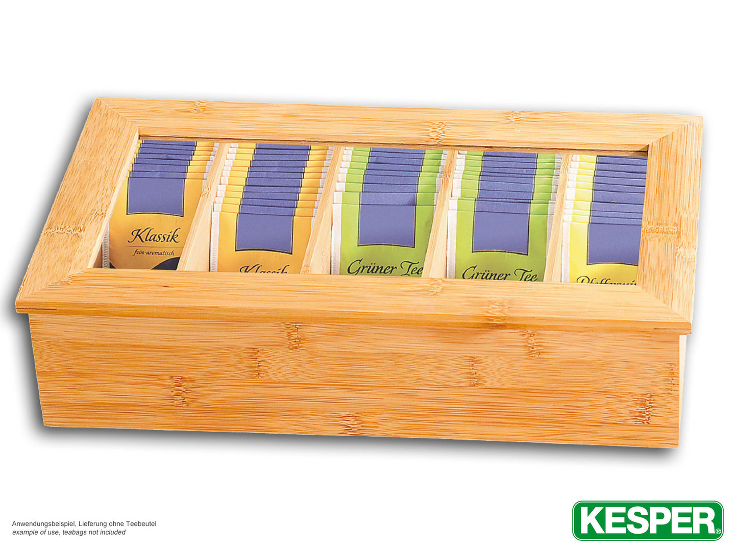 KESPER XXL bamboo tea box with window, 5 compartments