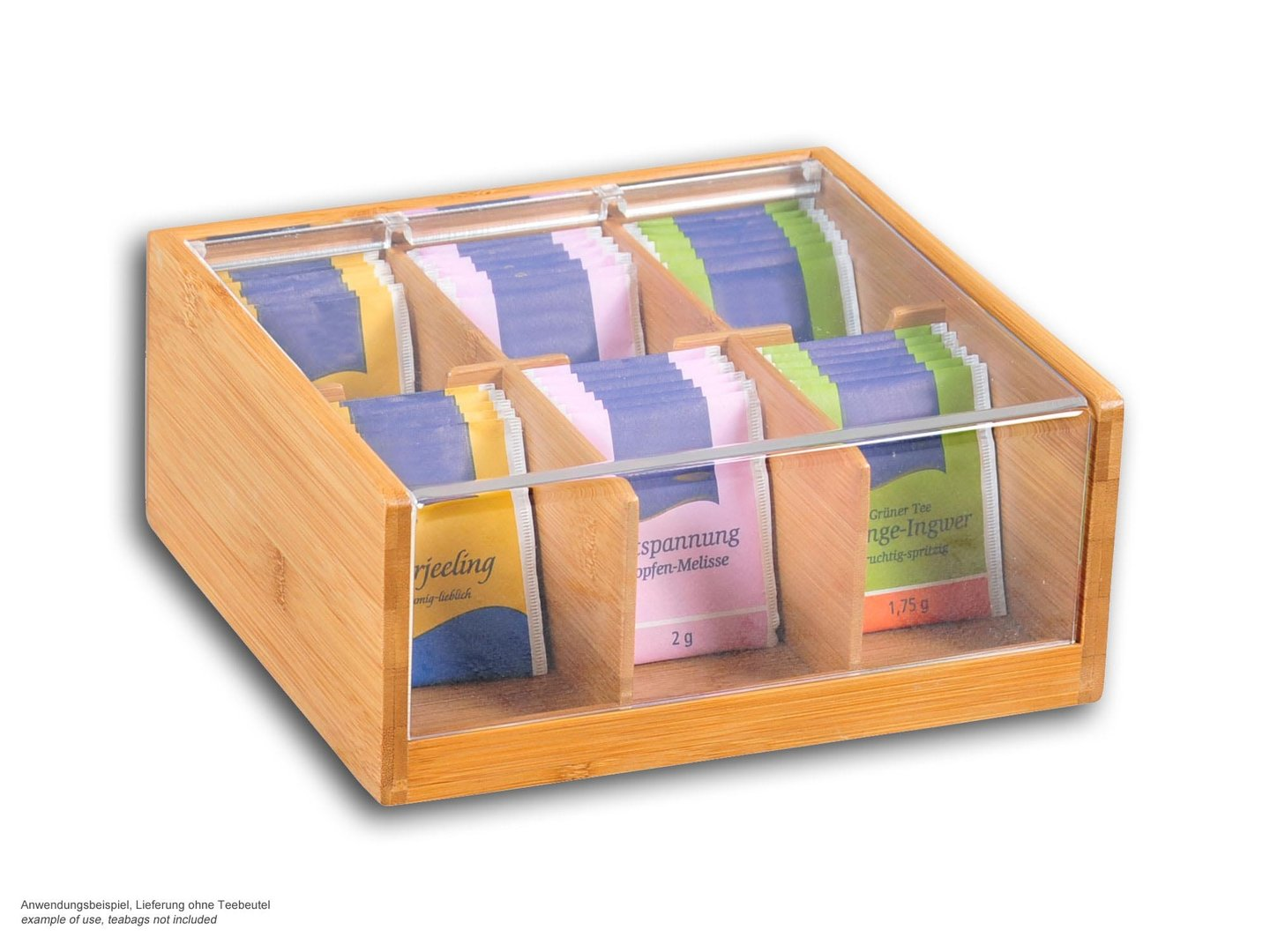 KESPER bamboo tea box with acrylic lid, 6 compartments