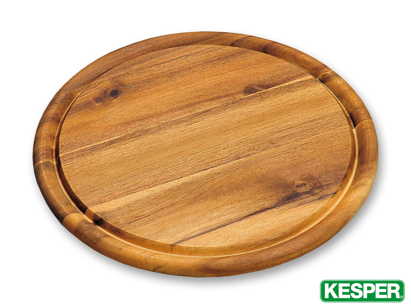 KESPER acacia wood snack plate 25 x 1,5 cm with juice rim