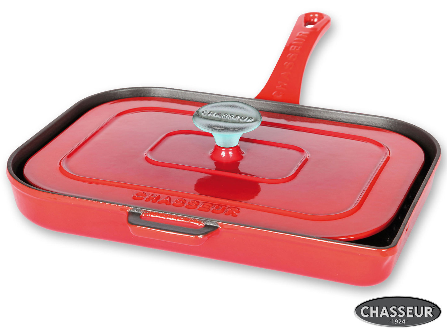 CHASSEUR cast iron double grillpan Panini pan ruby-red enamel