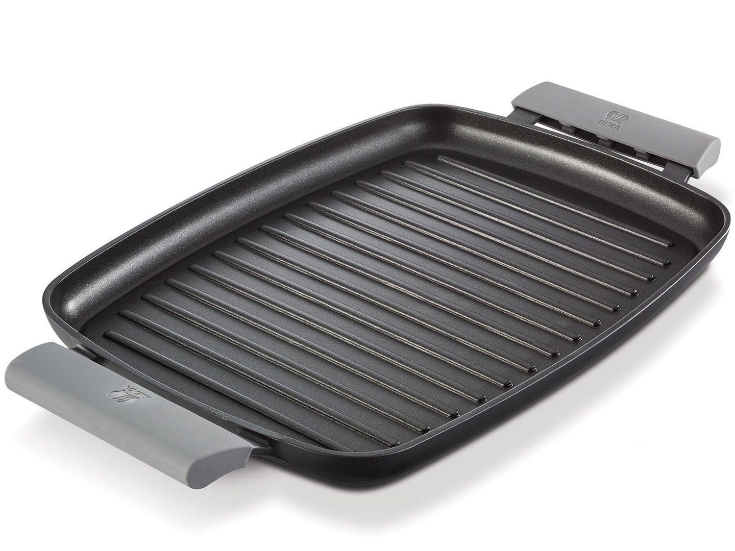 BEKA ribbed cast alu griddle 47 cm with silicone handles induction