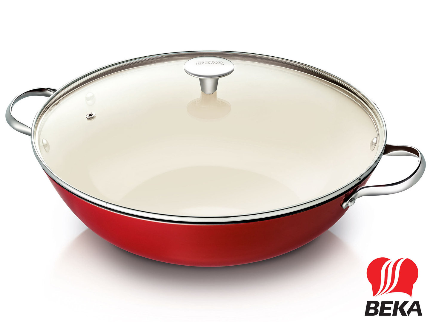 BEKA cast iron wok AROME 34 cm enamel red and ivory with glass lid