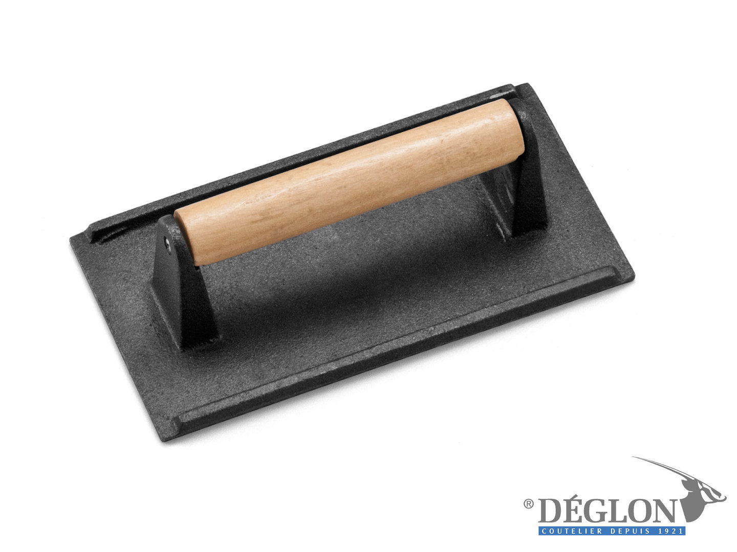 DÉGLON cast iron griddle press with wooden handle