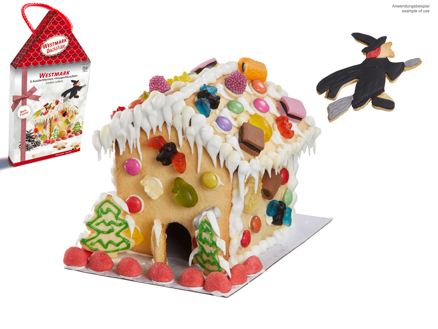 WESTMARK cookie cutter GINGERBREAD HOUSE WITH WITCH 6 pcs