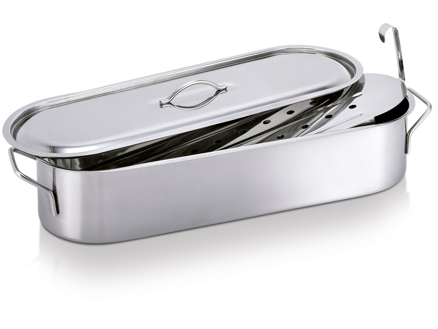 BEKA fish kettle stainless steel poacher oval 50 cm with insert and lid
