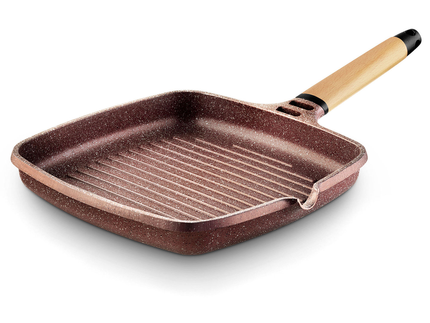 CASTEY cast alu grill pan TERRACOTA 27 x 27 cm detachable wooden handle induction