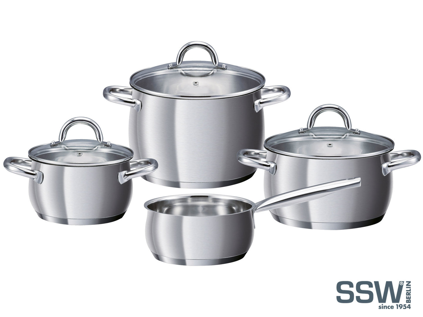 SSW casserole set LOLLO ROSSO stainless steel brushed