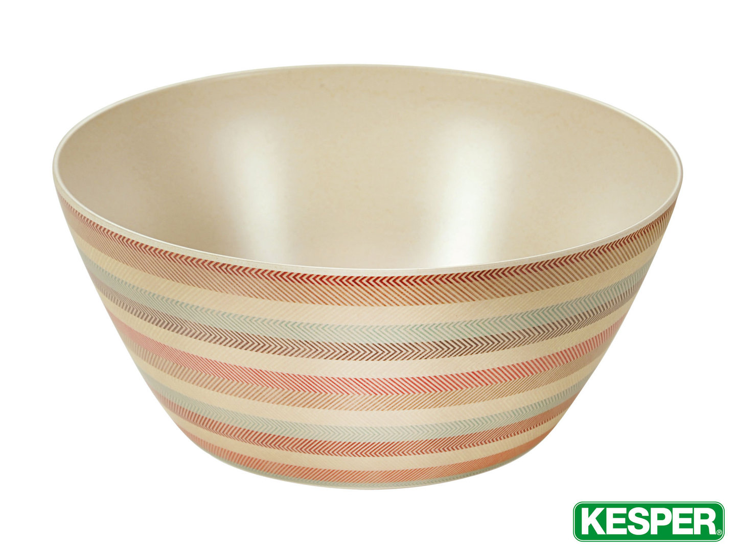 "KESPER fruit and salad bowl 25 cm BAMBOO FIBRE ""stripes"""