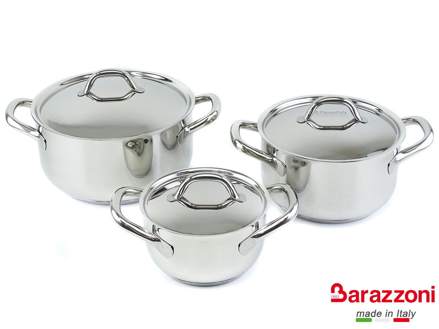 BARAZZONI starter set CHEF LINE 6 pieces stainless steel cookware set 16, 20, 24 cm