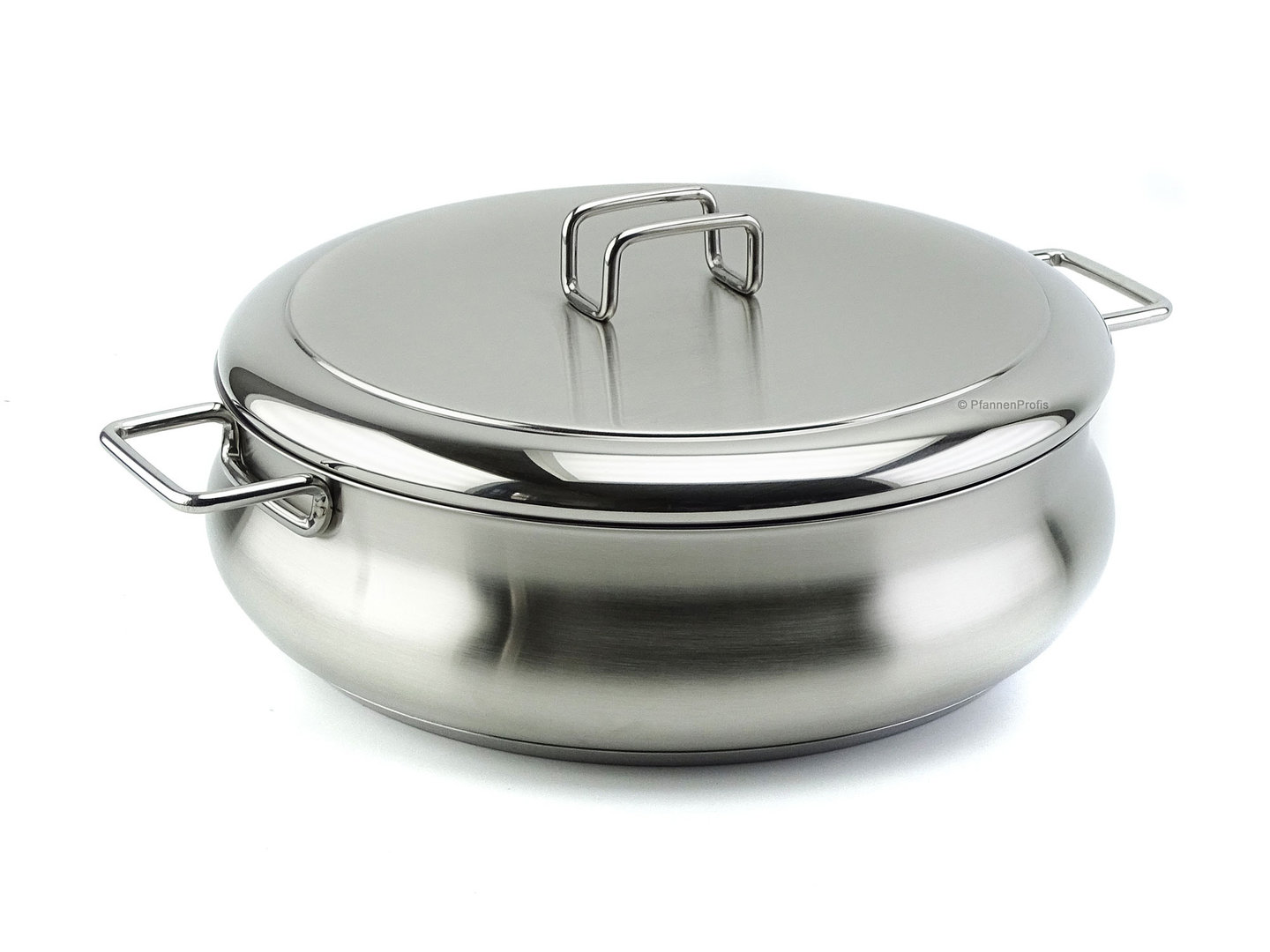 BARAZZONI shallow casserole TUMMY stainless steel 26 cm with lid 3.8 L