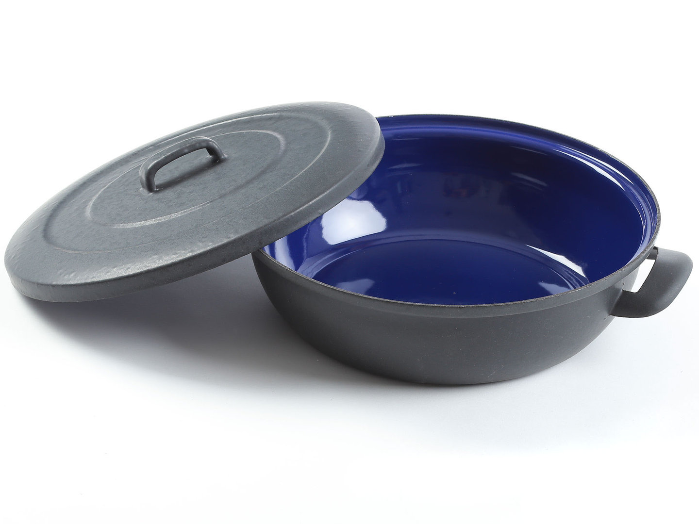 BELIS shallow casserole enameled steel STABIL EXTRA 28 cm with lid