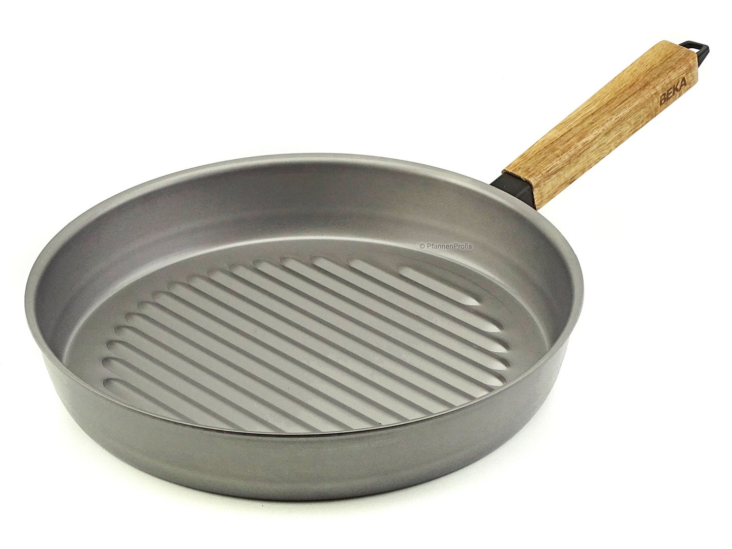 BEKA grill pan NOMAD 28 cm carbon steel frypan with acacia wood handle