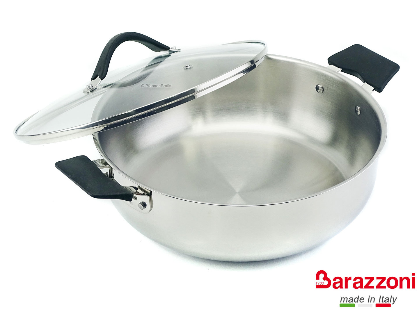 BARAZZONI shallow casserole  33-CARATI INOX stainless steel 28 cm with silicone handles 4.5 L